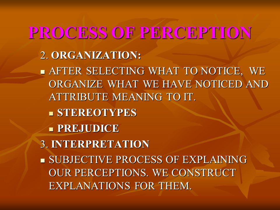 PROCESS OF PERCEPTION 2. ORGANIZATION: