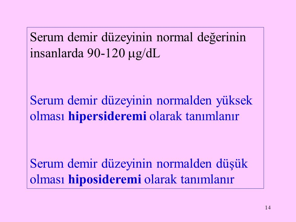 Serum demir düzeyinin normal değerinin insanlarda 90-120 g/dL