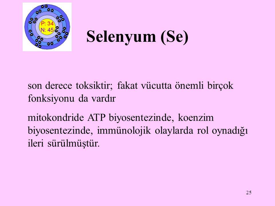 Selenyum (Se) son derece toksiktir; fakat vücutta önemli birçok fonksiyonu da vardır.