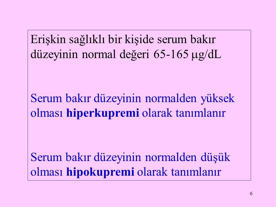 Erişkin sağlıklı bir kişide serum bakır düzeyinin normal değeri 65-165 g/dL