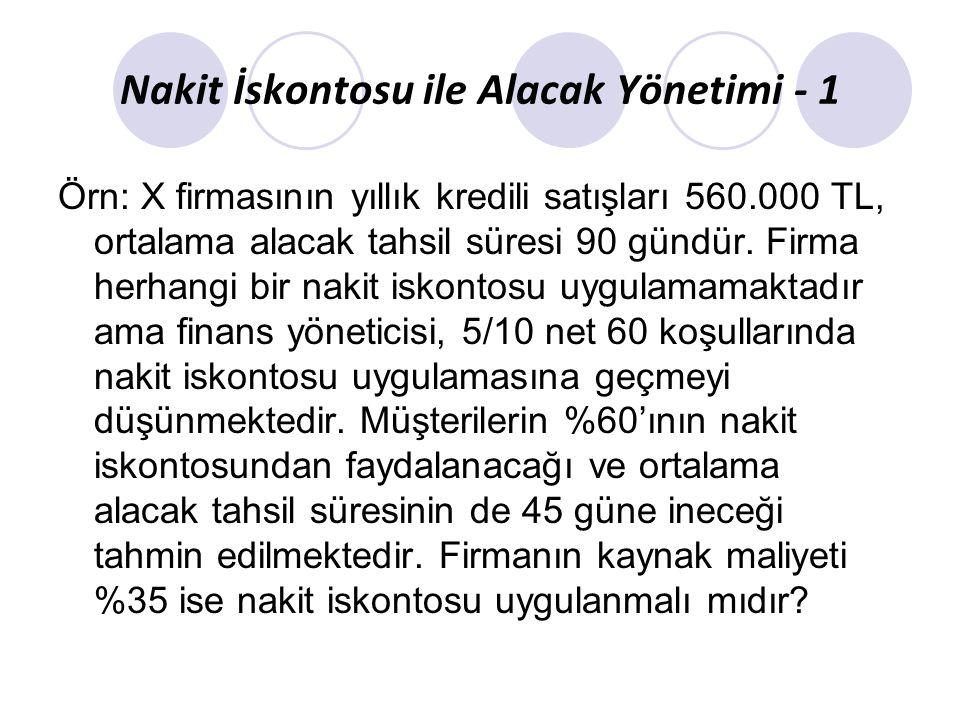 Nakit İskontosu ile Alacak Yönetimi - 1