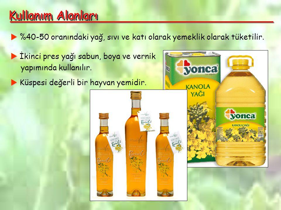 Kullanım Alanları  %40-50 oranındaki yağ, sıvı ve katı olarak yemeklik olarak tüketilir.  İkinci pres yağı sabun, boya ve vernik.