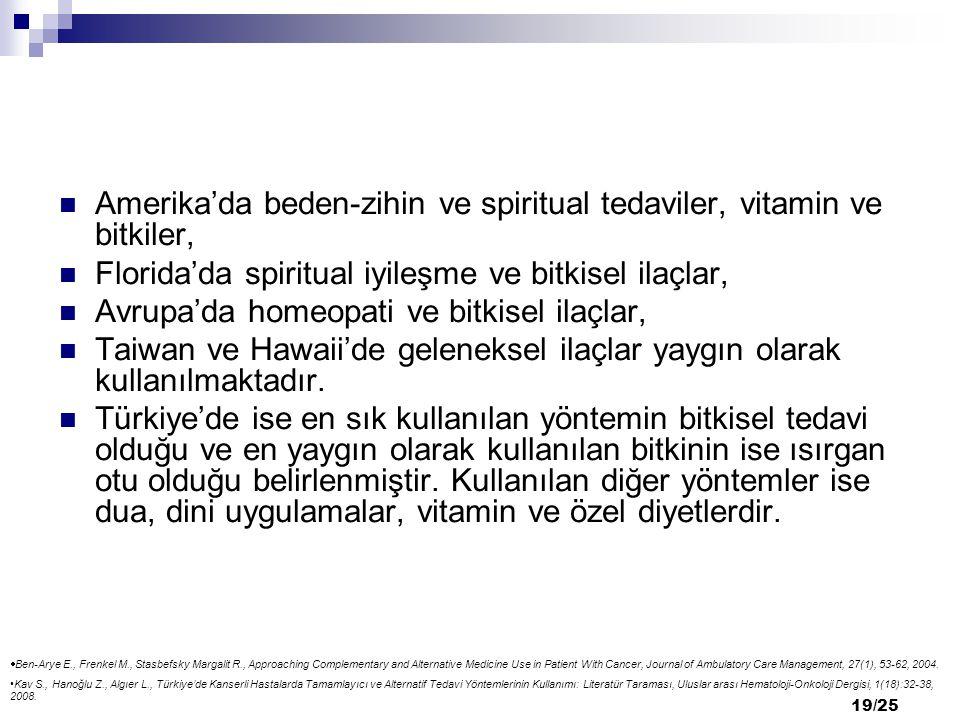 Amerika'da beden-zihin ve spiritual tedaviler, vitamin ve bitkiler,
