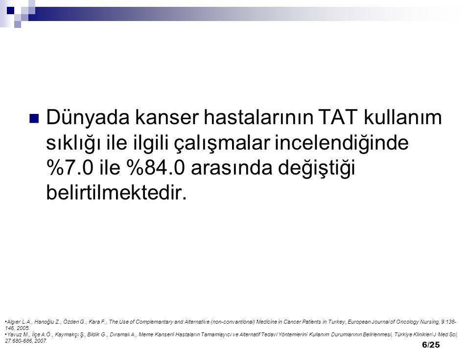 Dünyada kanser hastalarının TAT kullanım sıklığı ile ilgili çalışmalar incelendiğinde %7.0 ile %84.0 arasında değiştiği belirtilmektedir.