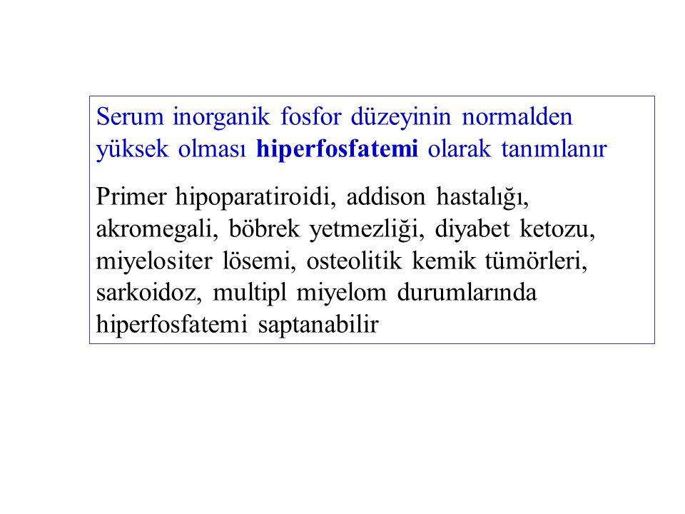 Serum inorganik fosfor düzeyinin normalden yüksek olması hiperfosfatemi olarak tanımlanır