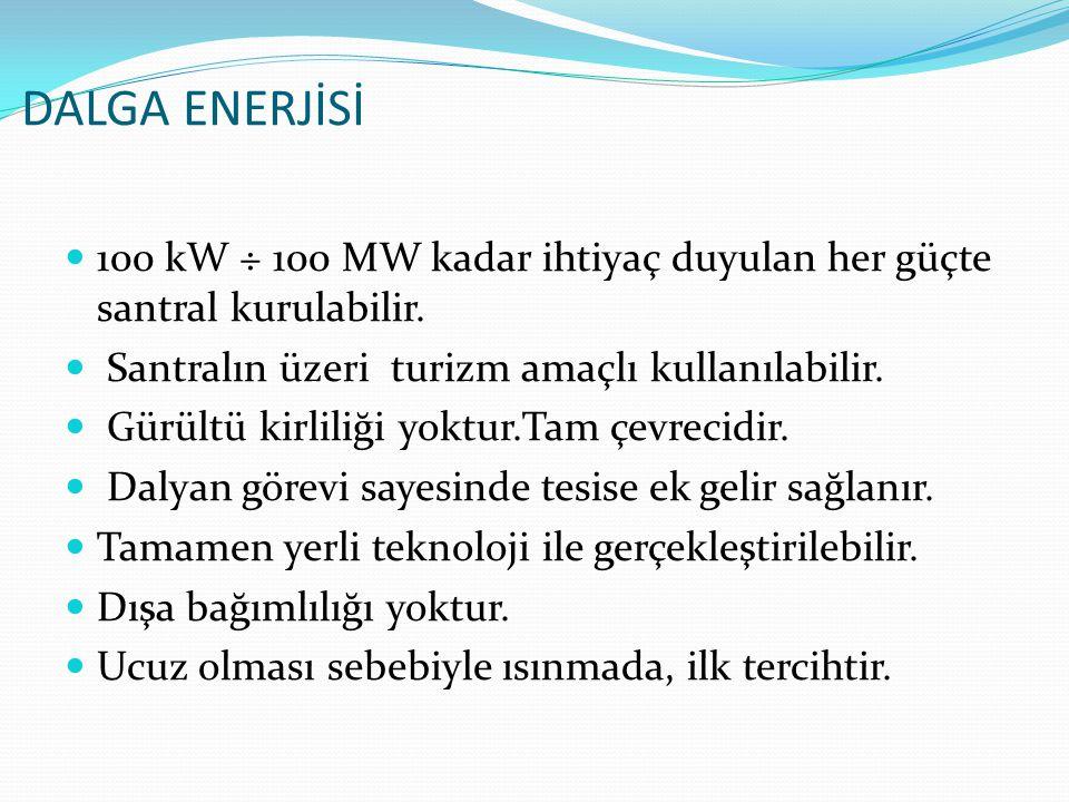 DALGA ENERJİSİ 100 kW ÷ 100 MW kadar ihtiyaç duyulan her güçte santral kurulabilir. Santralın üzeri turizm amaçlı kullanılabilir.