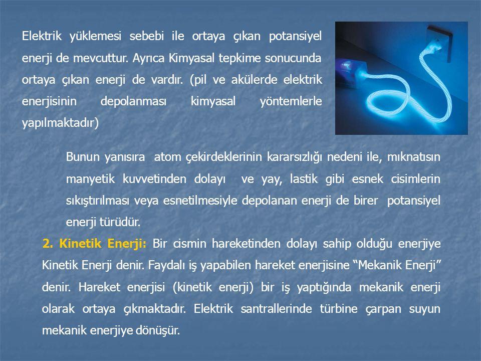 Elektrik yüklemesi sebebi ile ortaya çıkan potansiyel enerji de mevcuttur. Ayrıca Kimyasal tepkime sonucunda ortaya çıkan enerji de vardır. (pil ve akülerde elektrik enerjisinin depolanması kimyasal yöntemlerle yapılmaktadır)