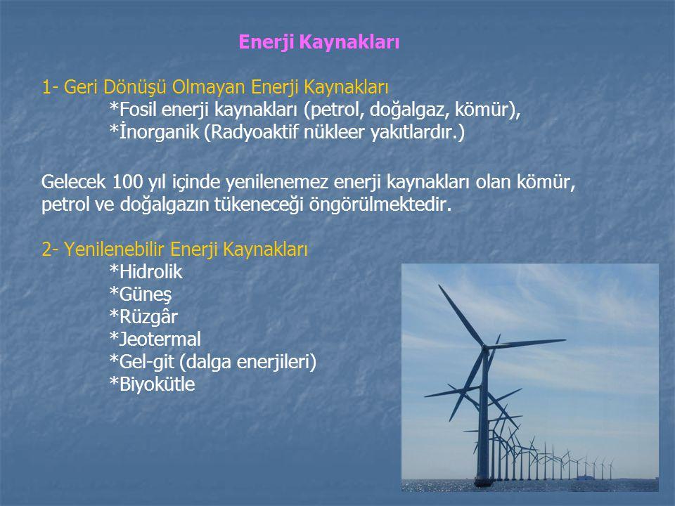 Enerji Kaynakları 1- Geri Dönüşü Olmayan Enerji Kaynakları. *Fosil enerji kaynakları (petrol, doğalgaz, kömür),