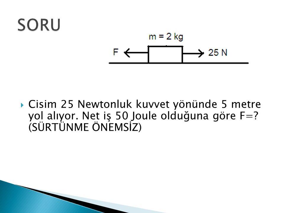 SORU Cisim 25 Newtonluk kuvvet yönünde 5 metre yol alıyor.