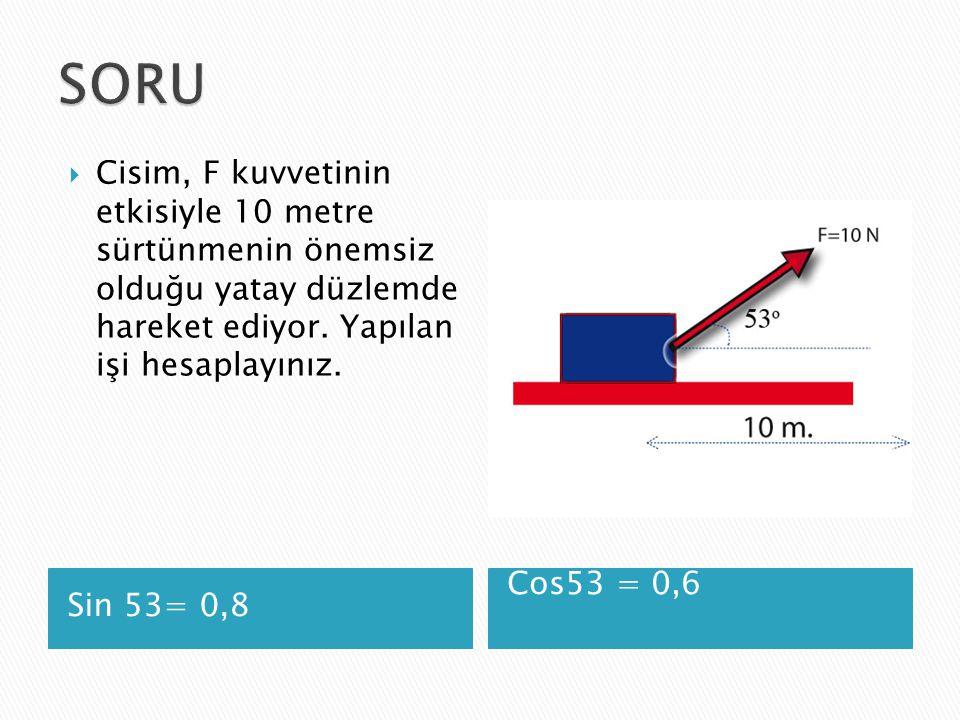 SORU Cisim, F kuvvetinin etkisiyle 10 metre sürtünmenin önemsiz olduğu yatay düzlemde hareket ediyor. Yapılan işi hesaplayınız.