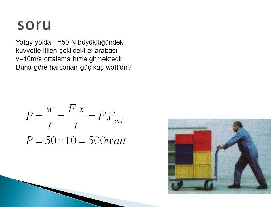 soru Yatay yolda F=50 N büyüklüğündeki kuvvetle itilen şekildeki el arabası v=10m/s ortalama hızla gitmektedir.