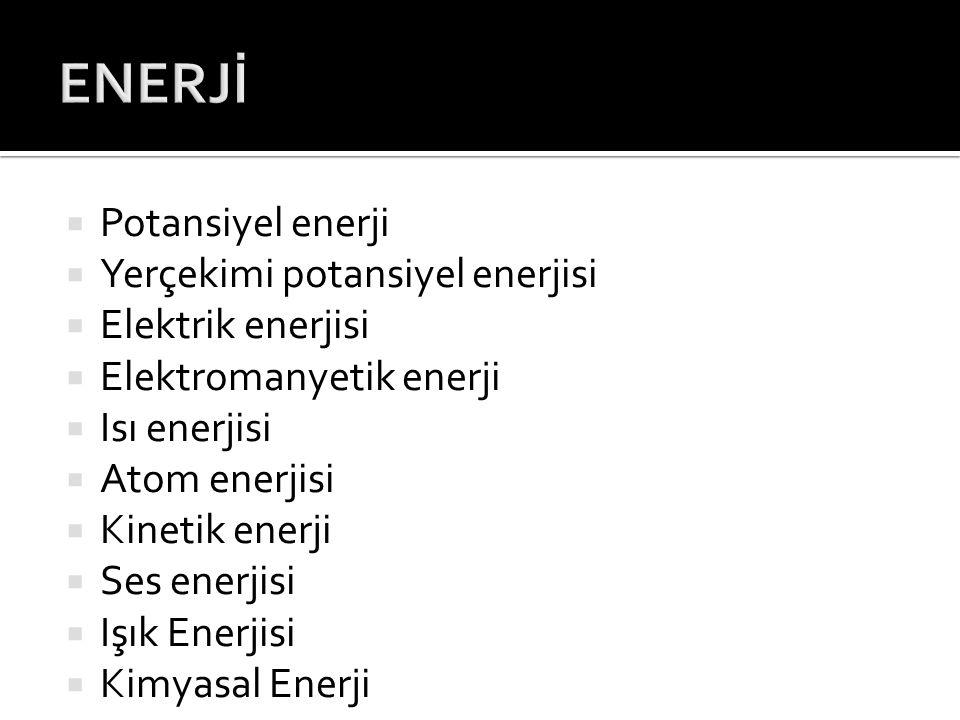 ENERJİ Potansiyel enerji Yerçekimi potansiyel enerjisi