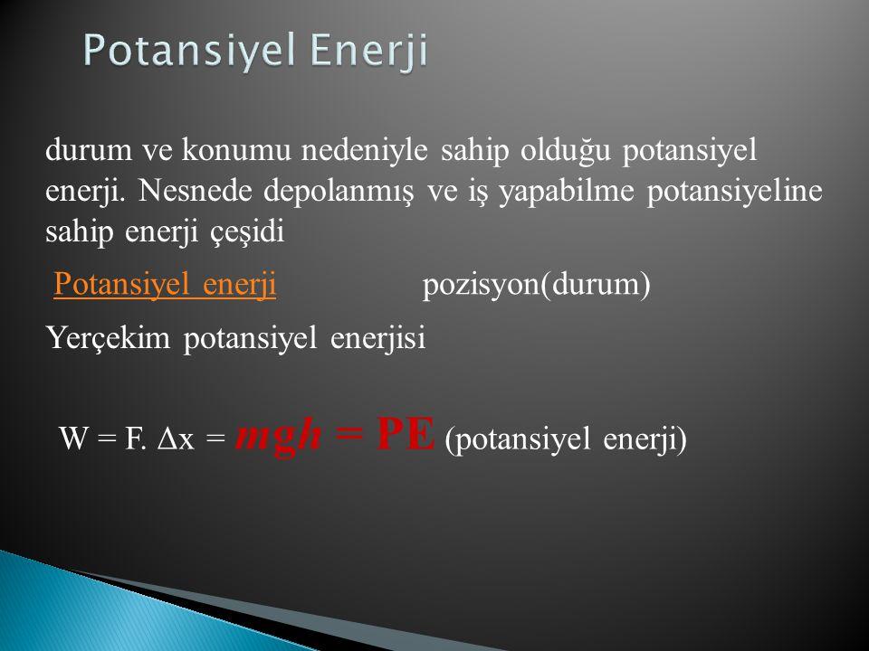 Potansiyel Enerji durum ve konumu nedeniyle sahip olduğu potansiyel enerji. Nesnede depolanmış ve iş yapabilme potansiyeline sahip enerji çeşidi.