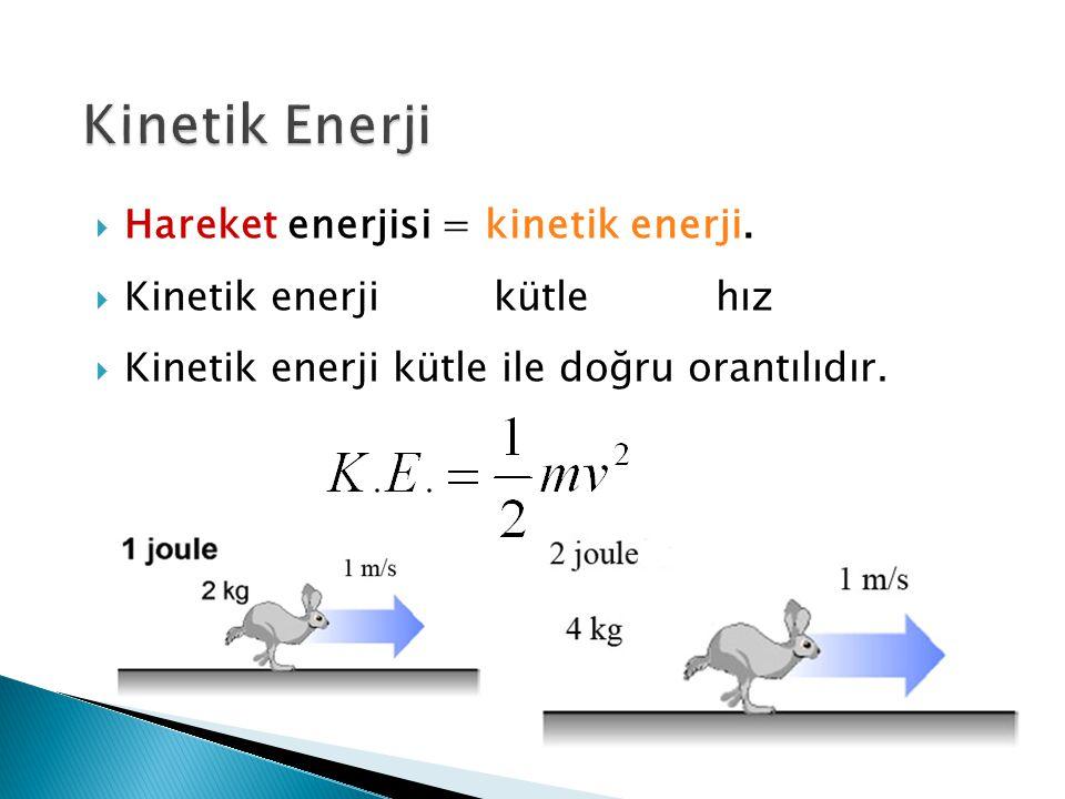 Kinetik Enerji Hareket enerjisi = kinetik enerji.