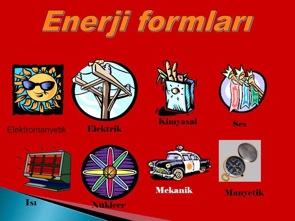 Enerji formları Kimyasal Elektromanyetik Ses Elektrik Mekanik Manyetik