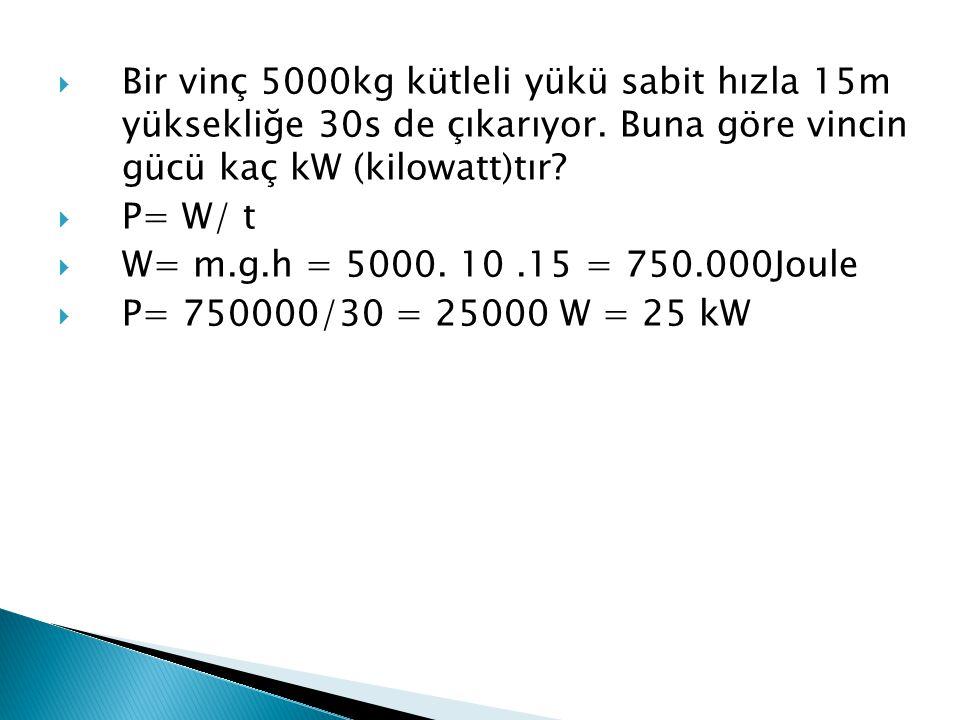 Bir vinç 5000kg kütleli yükü sabit hızla 15m yüksekliğe 30s de çıkarıyor. Buna göre vincin gücü kaç kW (kilowatt)tır