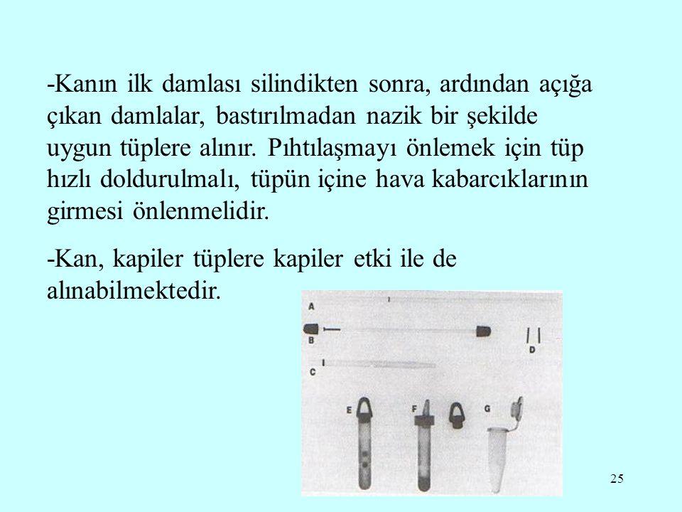 -Kanın ilk damlası silindikten sonra, ardından açığa çıkan damlalar, bastırılmadan nazik bir şekilde uygun tüplere alınır. Pıhtılaşmayı önlemek için tüp hızlı doldurulmalı, tüpün içine hava kabarcıklarının girmesi önlenmelidir.