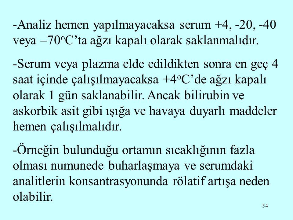 -Analiz hemen yapılmayacaksa serum +4, -20, -40 veya –70oC'ta ağzı kapalı olarak saklanmalıdır.