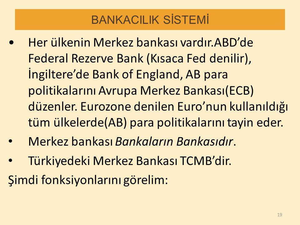 Merkez bankası Bankaların Bankasıdır.