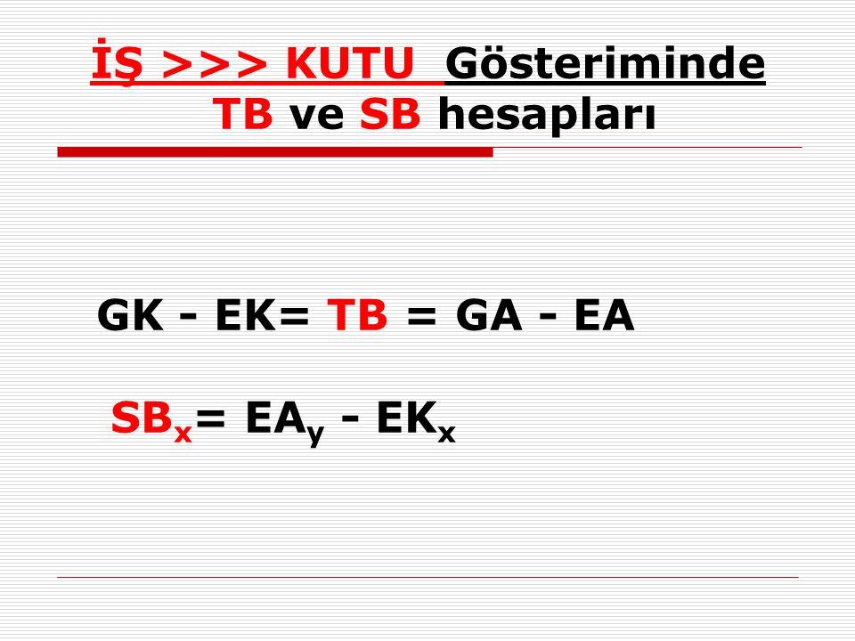 İŞ >>> KUTU Gösteriminde TB ve SB hesapları