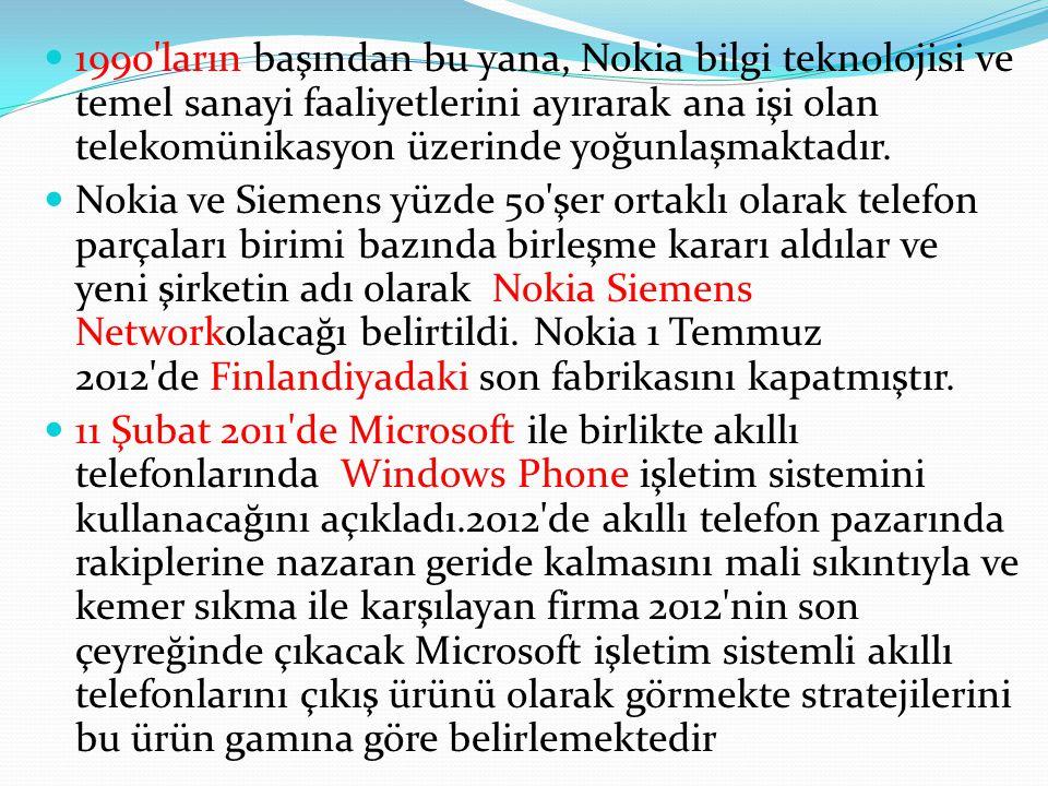 1990 ların başından bu yana, Nokia bilgi teknolojisi ve temel sanayi faaliyetlerini ayırarak ana işi olan telekomünikasyon üzerinde yoğunlaşmaktadır.