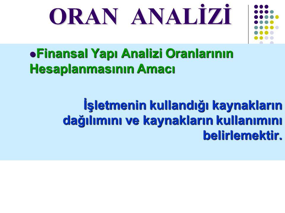 ORAN ANALİZİ Finansal Yapı Analizi Oranlarının Hesaplanmasının Amacı