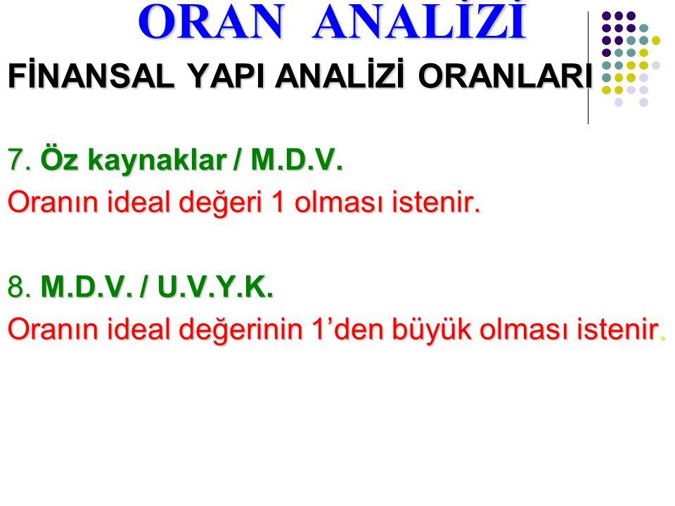 ORAN ANALİZİ FİNANSAL YAPI ANALİZİ ORANLARI 7. Öz kaynaklar / M.D.V.