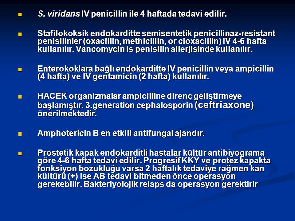 S. viridans IV penicillin ile 4 haftada tedavi edilir.
