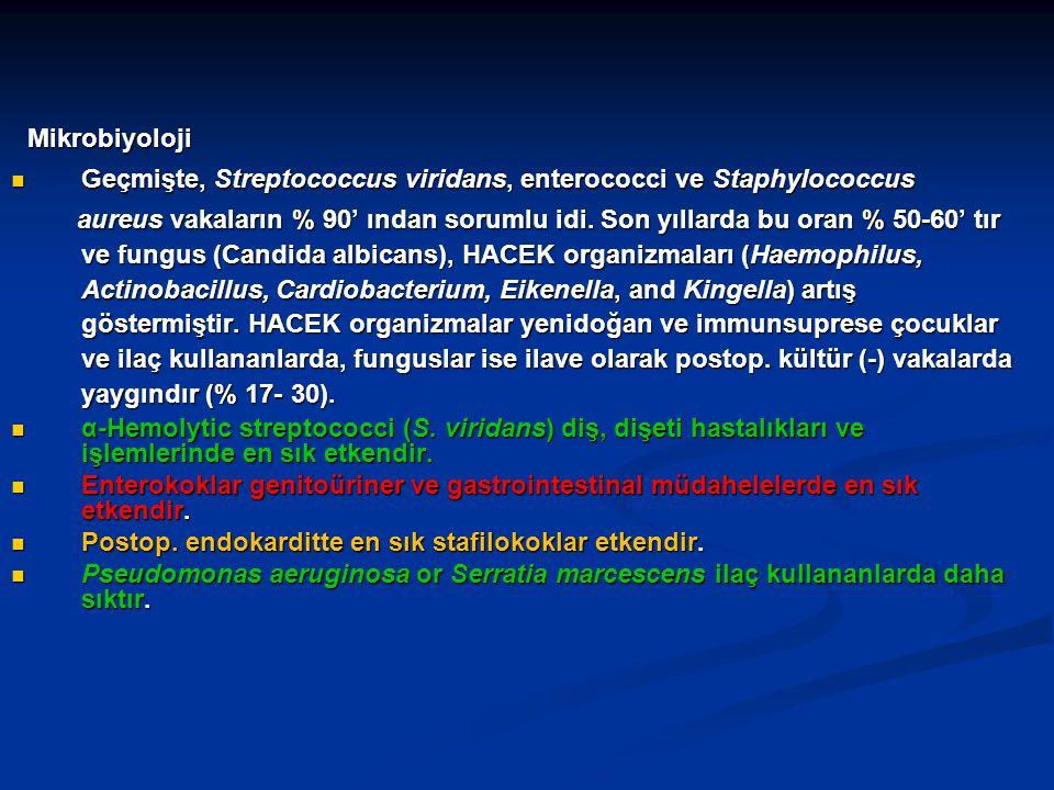 Geçmişte, Streptococcus viridans, enterococci ve Staphylococcus