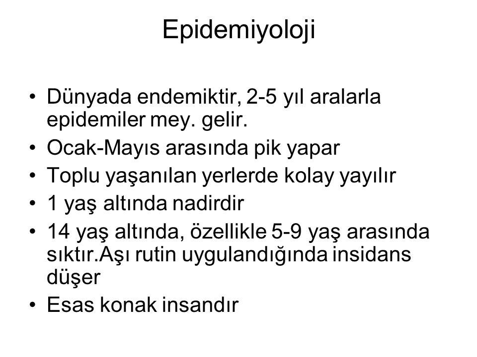 Epidemiyoloji Dünyada endemiktir, 2-5 yıl aralarla epidemiler mey. gelir. Ocak-Mayıs arasında pik yapar.