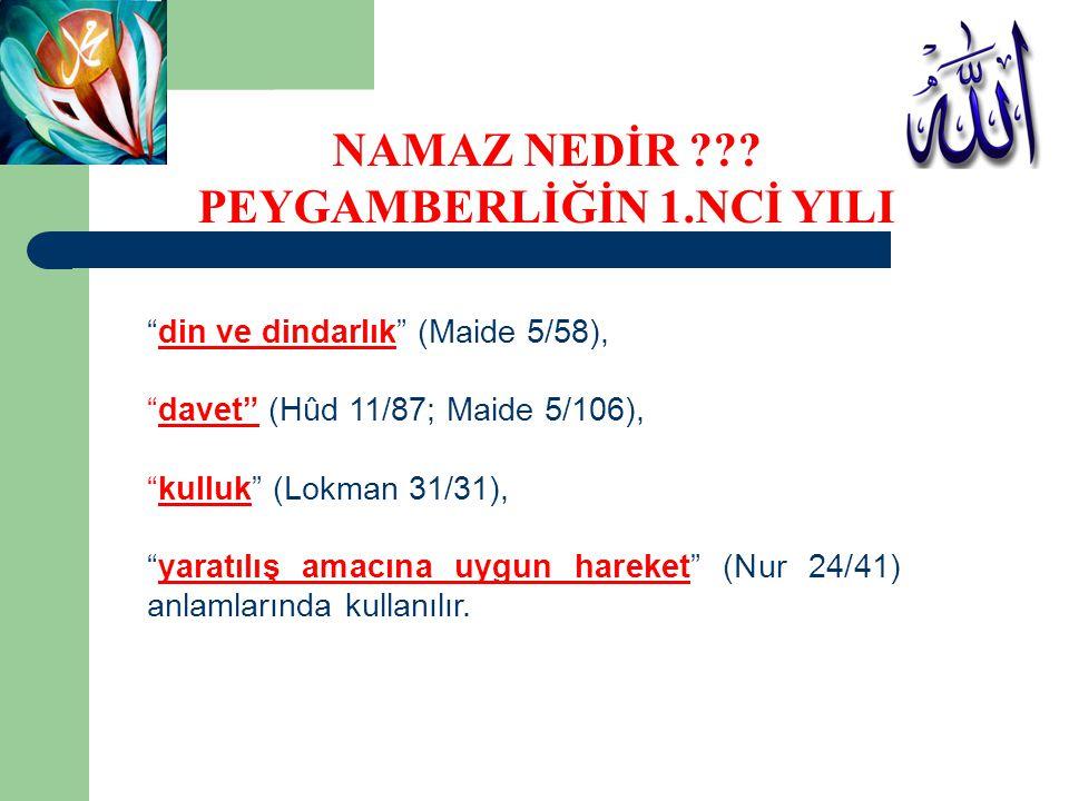 NAMAZ NEDİR PEYGAMBERLİĞİN 1.NCİ YILI