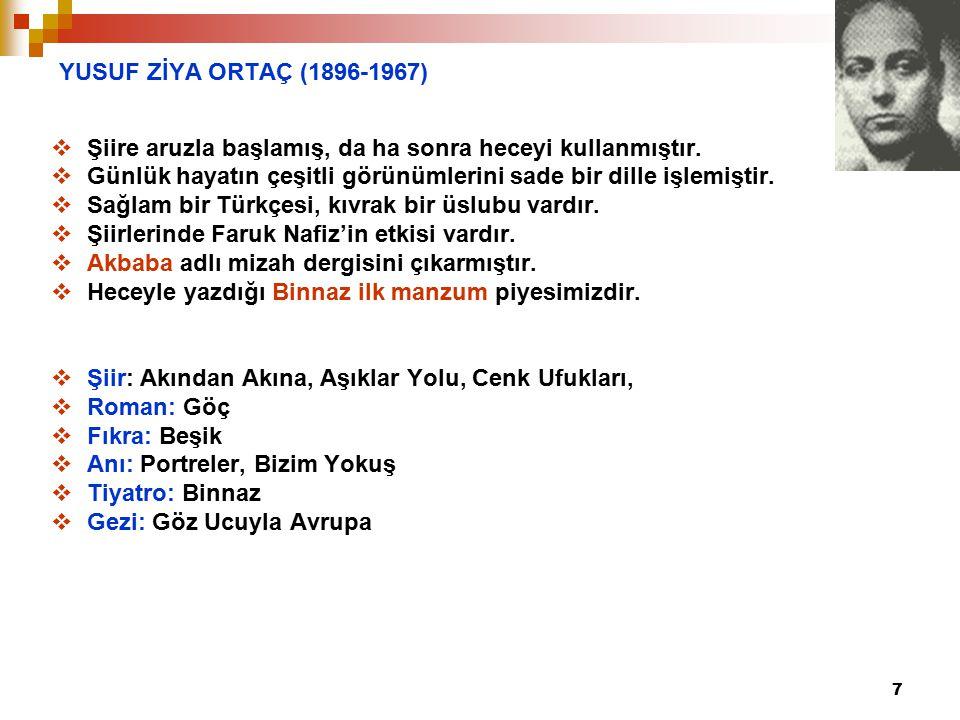 YUSUF ZİYA ORTAÇ (1896-1967) Şiire aruzla başlamış, da ha sonra heceyi kullanmıştır. Günlük hayatın çeşitli görünümlerini sade bir dille işlemiştir.