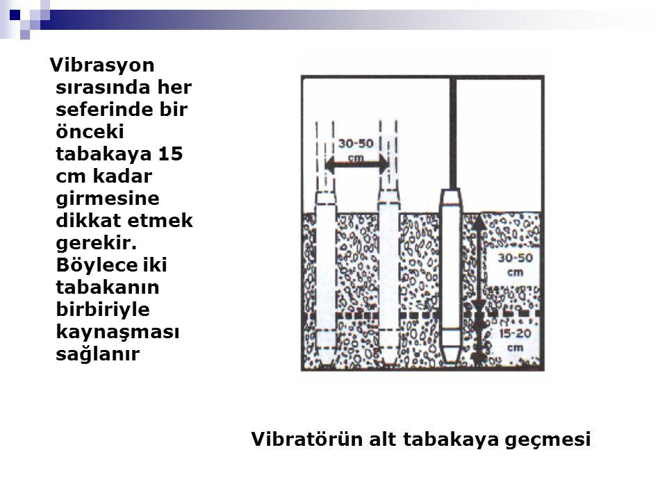 Vibrasyon sırasında her seferinde bir önceki tabakaya 15 cm kadar girmesine dikkat etmek gerekir. Böylece iki tabakanın birbiriyle kaynaşması sağlanır