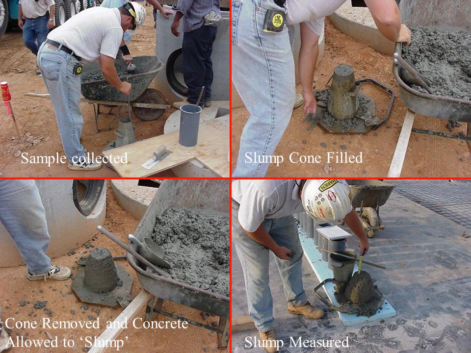 Sample collected Slump Cone Filled Cone Removed and Concrete Allowed to 'Slump' Slump Measured