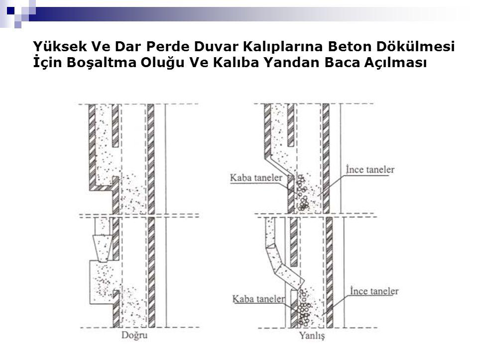 Yüksek Ve Dar Perde Duvar Kalıplarına Beton Dökülmesi İçin Boşaltma Oluğu Ve Kalıba Yandan Baca Açılması