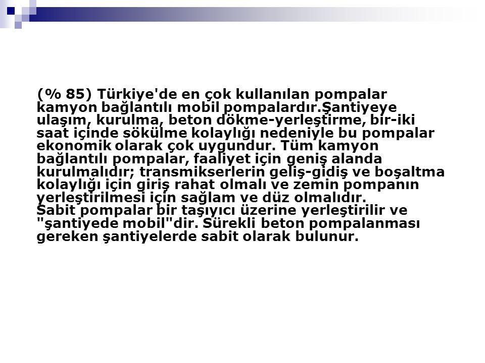(% 85) Türkiye de en çok kullanılan pompalar kamyon bağlantılı mobil pompalardır.Şantiyeye ulaşım, kurulma, beton dökme-yerleştirme, bir-iki saat içinde sökülme kolaylığı nedeniyle bu pompalar ekonomik olarak çok uygundur.