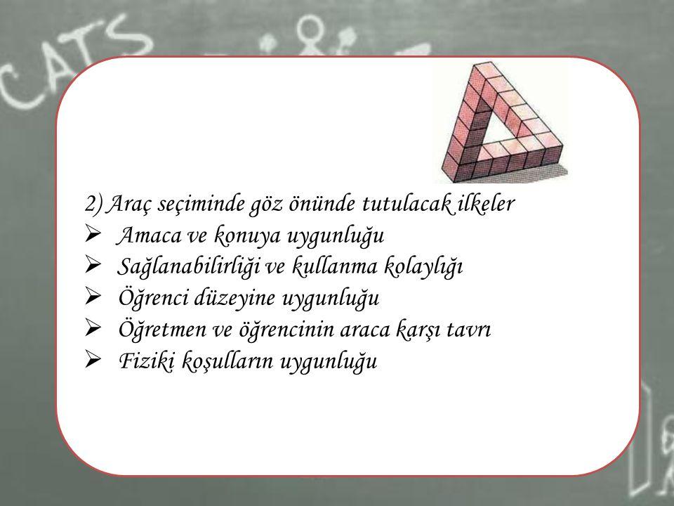 2) Araç seçiminde göz önünde tutulacak ilkeler