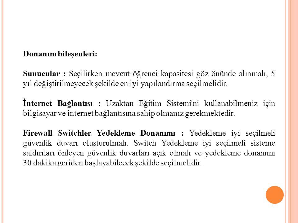 Donanım bileşenleri: