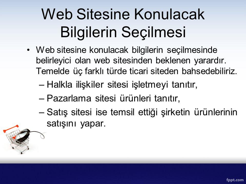 Web Sitesine Konulacak Bilgilerin Seçilmesi