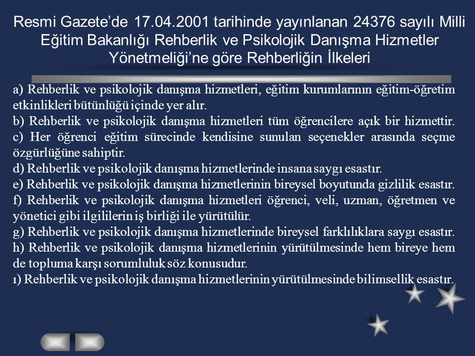 Resmi Gazete'de 17.04.2001 tarihinde yayınlanan 24376 sayılı Milli Eğitim Bakanlığı Rehberlik ve Psikolojik Danışma Hizmetler Yönetmeliği'ne göre Rehberliğin İlkeleri