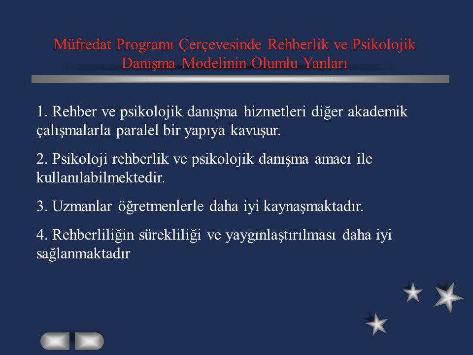 Müfredat Programı Çerçevesinde Rehberlik ve Psikolojik Danışma Modelinin Olumlu Yanları