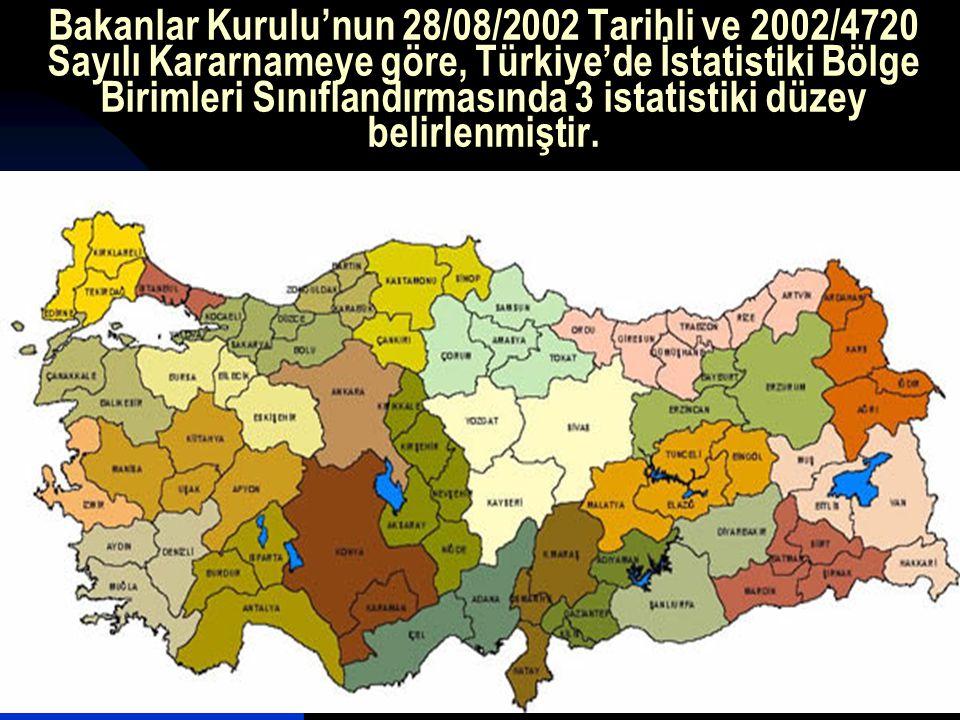 Bakanlar Kurulu'nun 28/08/2002 Tarihli ve 2002/4720 Sayılı Kararnameye göre, Türkiye'de İstatistiki Bölge Birimleri Sınıflandırmasında 3 istatistiki düzey belirlenmiştir.