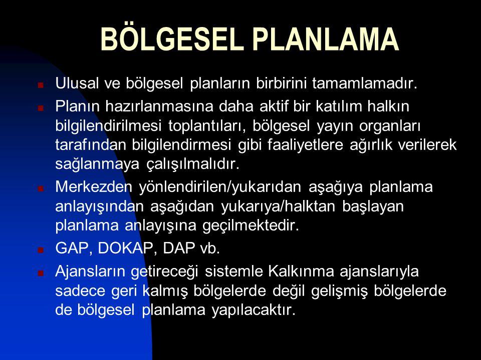 BÖLGESEL PLANLAMA Ulusal ve bölgesel planların birbirini tamamlamadır.