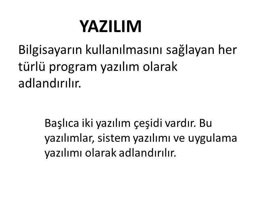 YAZILIM Bilgisayarın kullanılmasını sağlayan her türlü program yazılım olarak adlandırılır.