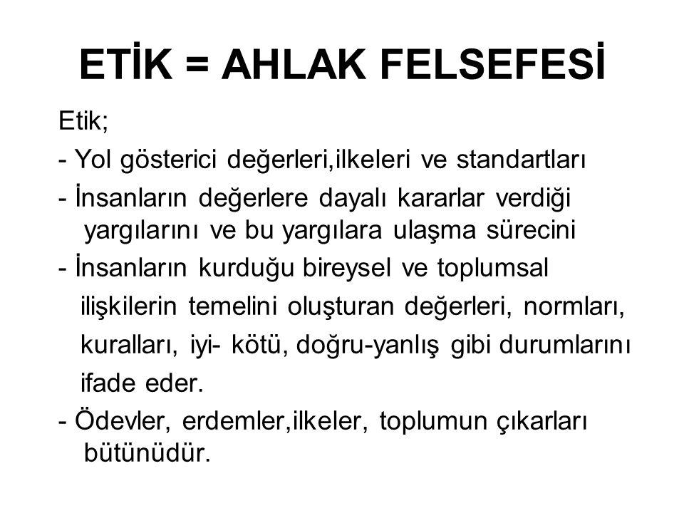 ETİK = AHLAK FELSEFESİ Etik;