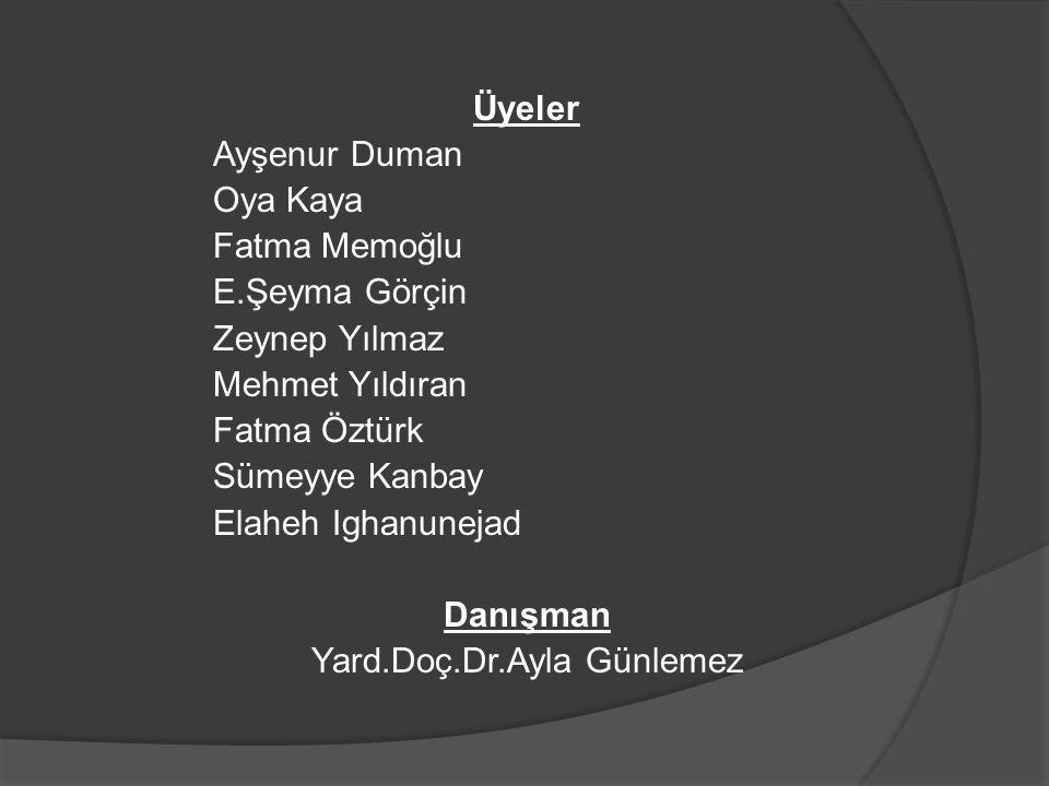 Üyeler Ayşenur Duman Oya Kaya Fatma Memoğlu E