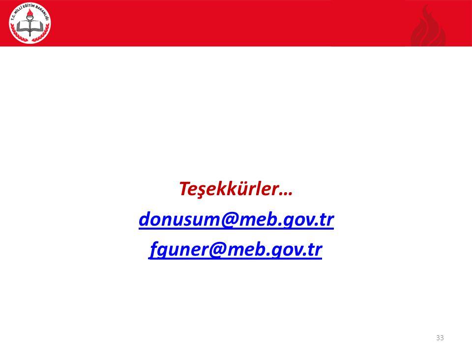 Teşekkürler… donusum@meb.gov.tr fguner@meb.gov.tr