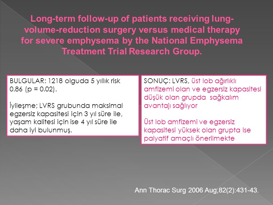 Long-term follow-up of patients receiving lung-volume-reduction surgery versus medical therapy for severe emphysema by the National Emphysema Treatment Trial Research Group.