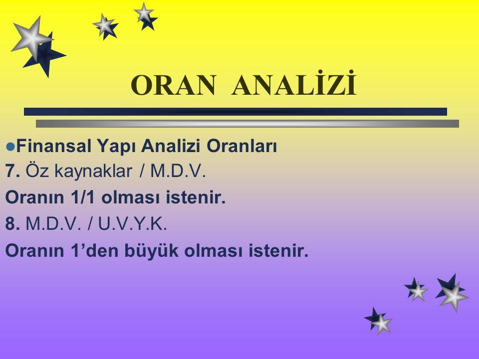 ORAN ANALİZİ Finansal Yapı Analizi Oranları 7. Öz kaynaklar / M.D.V.