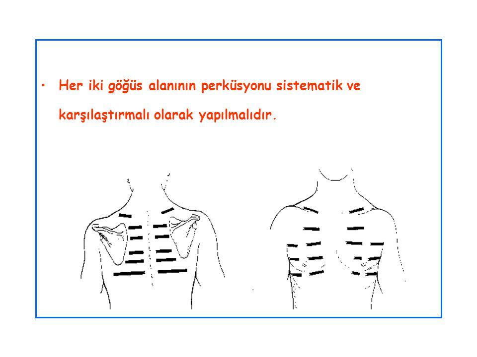 Her iki göğüs alanının perküsyonu sistematik ve karşılaştırmalı olarak yapılmalıdır.